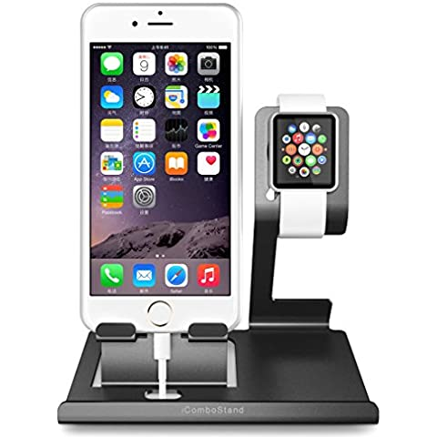 iComboStand Soporte de Apple Watch y Plataforma de iPhone Dual 2 en 1 Estación de Carga En Negro