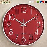HZDHCLH Ø30cm Horloge Murale silencieuse Pendule décorative pour Cuisine Salon Chiffre Arabe Blanc (Rouge-Blanc)