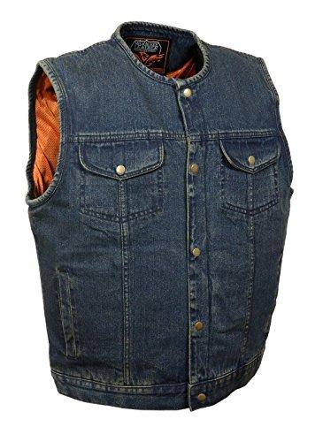 Chaleco vaquero Milwaukee Son of Anarchy para hombre, color azul, con bolsillos interiores para armas con botones a presión, talla estándar