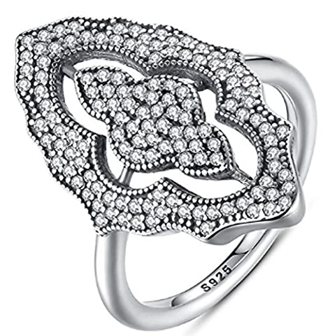 SaySure - 925 Sterling Silver Sparkling Lace Wedding Rings (SIZE : 7)