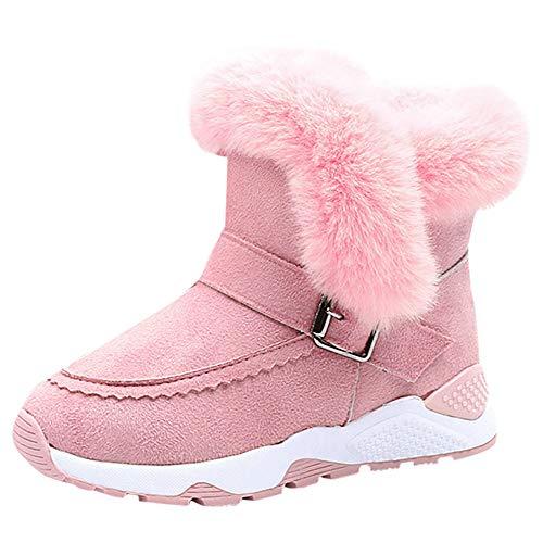 Deloito Kleinkind Stiefel Jungen Mädchen Winter Kurzer Bootie Baby Martin Sneaker Kinder Plus Samtfell Wärmer Schneeschuhe (Rosa,33 EU)