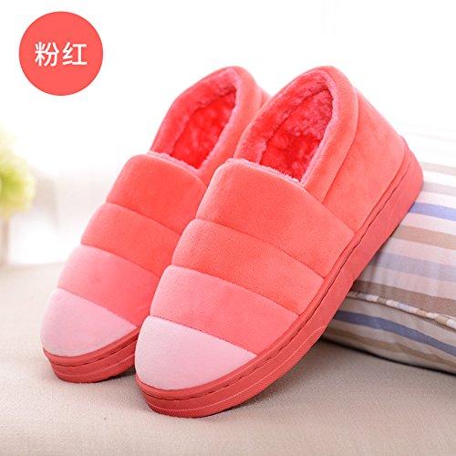 DogHaccd pantofole,Gli uomini e le donne inverno paio di pantofole di cotone confezione con piscina coperta anti-slittamento torna spessa home soggiorno caldo inverno scarpe eleganti. Rosa4