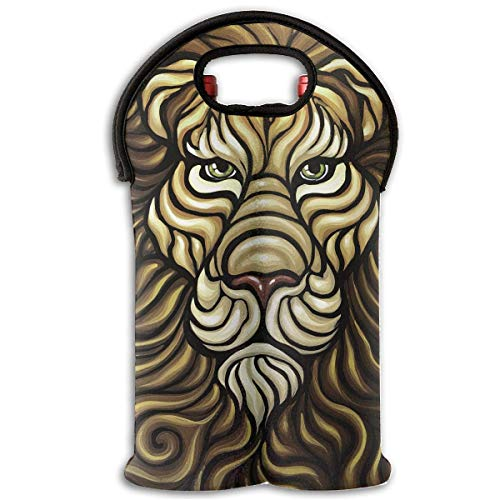Neoprene Wine Tote Bag Insulated Lion Face Travel Padded 2 Bottle Wine/Champagne Cooler Carrier