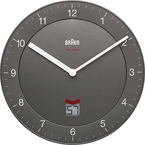 Braun BNC006GYGY Grey-DCF Radio Controlled Wall Clock, Plastik, 20 x 3.4 x 20 cm (Lcd Clock Radio)