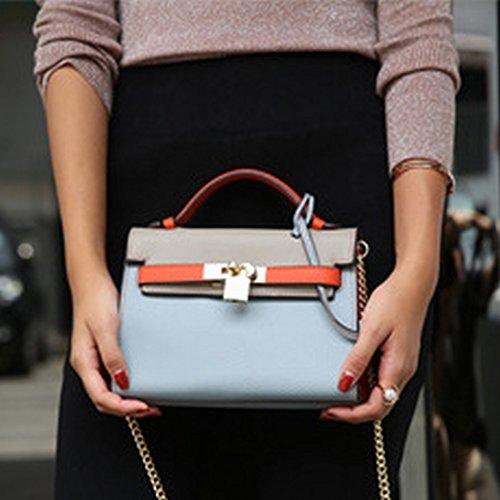Lychee Gestreifte Leder Mode Leder Handtasche Schulter Kelly Kette Handtaschen , Leinen blau (Blau Handtasche Gestreifte)