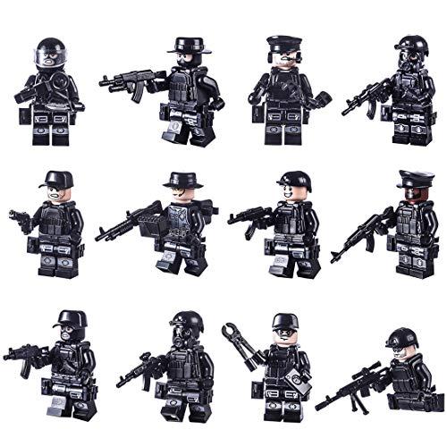 15000P 12St. Mini Figuren Set SWAT Team mit Militärwaffen Armee Soldaten Minifiguren Satz Bausteine für Kinder (Kinder Swat Helm)