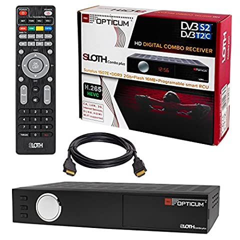 HB DIGITAL DVB-S2 DVB-C DVB-T/T2 H.265 HEVC SET: Opticum HD Sloth Combo Plus Receiver + HDMI Kabel mit Ethernet Funktion und vergoldeten Anschlüssen (Full HD, HEVC/H.265, HDTV, HDMI, USB 2.0, RJ45 Lan, SCART, Conax Karten Leser DVB-S DVBS DVB-S2 DVBC DVB-C DVBT DVBT2 (Mpeg4 Audio)