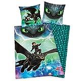 Dragons Bettwäsche glatt Drachen LEUCHTET IM Dunkeln 135 x 200 cm Geschenk Wow - All-In-One-Outlet-24 -