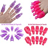 BESTIM INCUK 20 Pieces Acrylic Toenail Nail Art Soak Off Clip Cap UV Gel Polish Remover Wrap Nail Tool, Pink and Purple