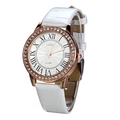 JewelryWe Damen Armbanduhr, Analog Quarz, Exquisite Leder Armband Uhr mit Strass Römischen Ziffern Zifferblatt, Weiss