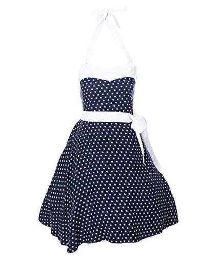 Fashion4Young Damen Rockabilly 50er Kleid Petticoat Tanzkleid Karneval Polka Pin Up Partykleid dress Dunkelblau Weiß