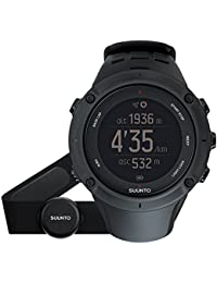 Suunto Unisex Multisport-/Outdoor GPS-Uhr, 30 Std. Akkulaufzeit, Herzfrequenzmesser + Brustgurt in blau (Gr. M), Wasserdicht bis 100 m, AMBIT3 PEAK BLACK HR, Schwarz, SS020674000