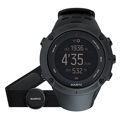 Suunto, AMBIT3 PEAK HR, Unisex Multisports-/Outdoor GPS Watch, 30 Hrs. Battery Life, Heart Rate Monitor + Chest Strap in blue (Size: M), Waterproof up to 100m, Black, SS020674000