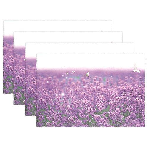 LIANCHENYI Lavendel Blumen mit Vögeln, hitzebeständige Platzsets, Polyester, tableMat, Matte für Küche Esszimmer 1Stück - Schönen Speisesaal Möbel