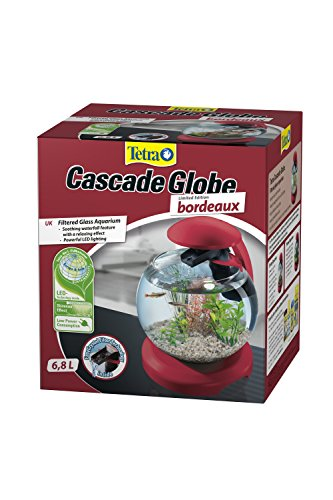Tetra Cascade Globe, Bordeaux, LED filtrée Aquarium en Verre 6.8l, pour Un Effet Relaxant à la Maison ou au Travail