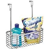 mDesign Organizador de cocina - Estante colgante para almacenar el papel de aluminio, bolsas de congelación, detergentes, etc. - Estante cuadrado tamaño pequeño y color plateado