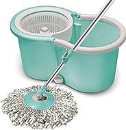 Spotzero by Milton Smart Spin Mop with Bucket (Aqua Green, Two Refills)
