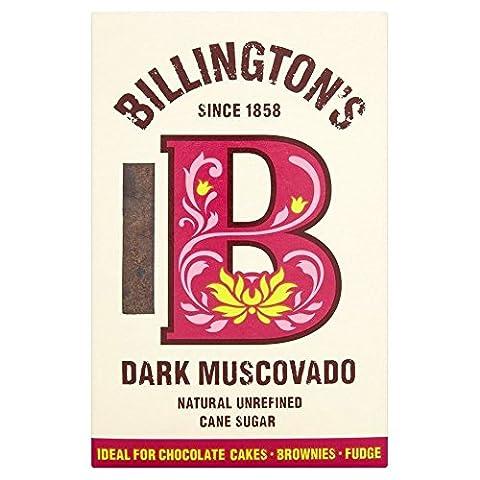Billington Natural Unraffinierte Dunkel Muscovado Rohrzucker (500g) - Packung mit