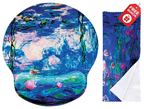 Claude Monet Water Lillies 1917 Ergonomisches Design Mauspad mit Handballenauflage. Runder großer Mausbereich. Passendes Mikrofaser-ReinigungstuchGroßartig für Gaming & Arbeit