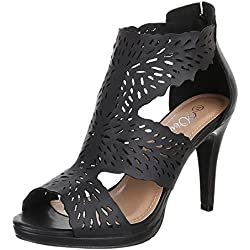 Damen Schuhe, G820, PUMPS, HIGH HEELS SANDALETTEN, Synthetik in hochwertiger Lederoptik , Schwarz, Gr 36