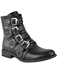 Fashion Thirsty New Womens Ladies Studded Buckle Ankle Boots Chelsea Biker Punk Strappy Size