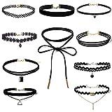 10PCs Black Velvet Choker Necklaces Set Gothic Stretch Tattoo Choker Tassel Lace Necklaces for Women Girls