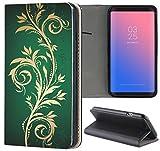 Samsung Galaxy J7 2017 J730 Hülle Premium Smart Einseitig Flipcover Hülle Galaxy J7 2017 Flip Case Handyhülle Samsung J7 2017 Motiv (624 Tattoo Style Gold Grün)