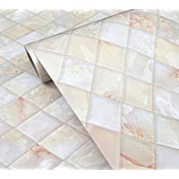 WDragon - Adhesivo de vinilo, diseño 3D de baldosa de mármol, para encimera de cocina, 60 x 200 cm