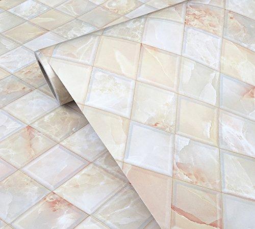 WDragon Klebefolie, Abziehtapete, Muster: Fliesenspiegel in Marmoroptik, selbstklebend, glänzend, Vinyl, für die Küchentheke, Wandaufkleber, 61 x 200 cm Multi-yellow -