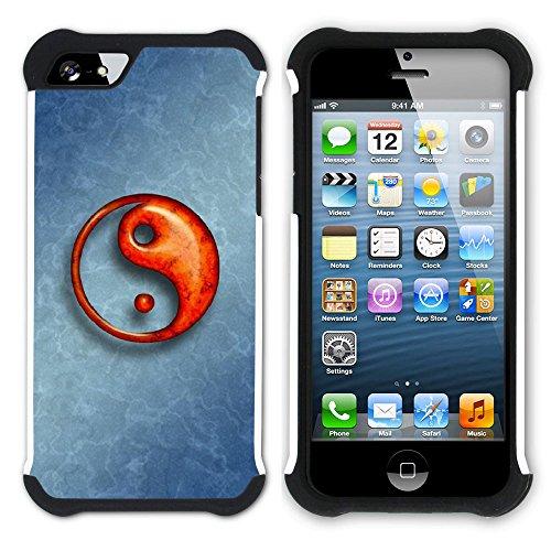 Graphic4You Yin und Yang Chinesisch Symbole Hart + Weiche Kratzfeste Hülle Case Schale Tasche Schutzhülle für Apple iPhone SE / 5 / 5S Design #5