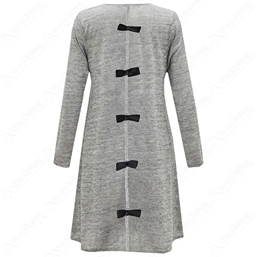 Fashion 4 Less - Robe - Swing - Manches Longues - Femme Gris - Gris