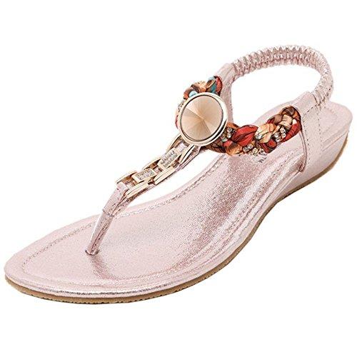 COOLCEPT Damen Mode-Event Knochelriemchen Flops Niedrig Keilabsatz Slingback Flip Flops Schuhe Pink