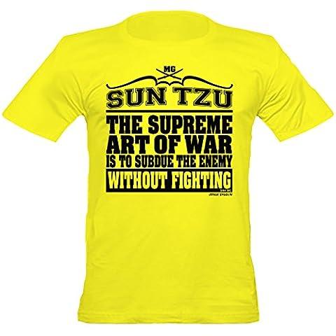 Urban Urban ShaolinSun Tzu Supreme Art of War Quote Fitted T-Shirt, Xtra Large, Gelb