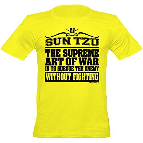 Urban Urban ShaolinSun Tzu Supreme Art of War Quote Fitted T-Shirt, Klein, Gelb