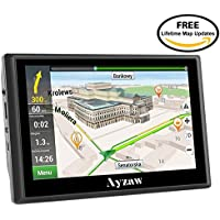 Ayzaw 720 Sat Nav 7 Inch Capacitive Car navigation with Touchscreen with Western European Maps and Free Live Traffic