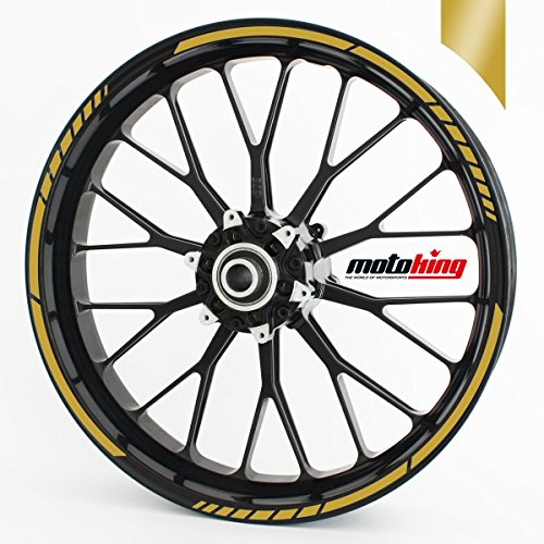 Felgenrandaufkleber GP im GP-Design passend für 17 Zoll und 16″ 18″ 19″ Felgen für Motorrad, Auto & mehr – Gold