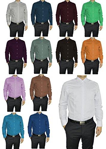 Redmond - Body Cut - Bügelfreies Herren Langarm Hemd in verschiedenen Farben (150110) Braun(30)