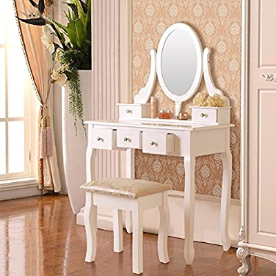 Dripex Vanity White Dressing Table Set Makeup Desk with Stool & Swivel Mirror / Bedroom Dresser Organizer - Stool and Makeup Table with Mirror and 5 Drawers produced by Dripex - quick delivery from UK.