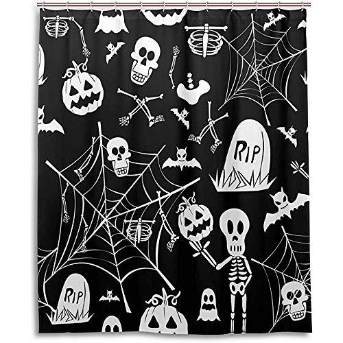 Sangeigt Duschvorhang Bath Curtain, Happy Halloween Elements Shower Curtain Bathroom Home Decor Set Fabric Polyester Washable Waterproof