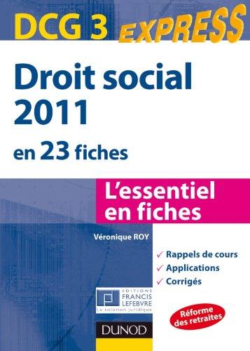 Droit social 2011 - DCG 3 - 2e édition - en 23 fiches