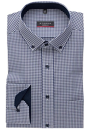 ETERNA long sleeve Shirt MODERN FIT Poplin checked blu marino/bianco