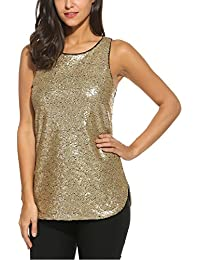 c8dcc376241f9 Zeagoo Women s Camisole Shimmer Sequined Double Side Slit Loose Fit Sparkle Tank  Top Vest Top