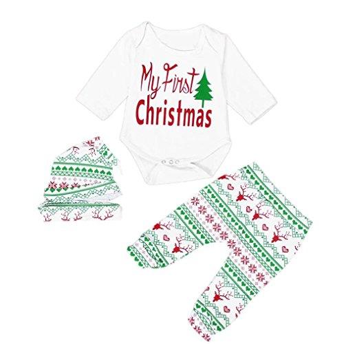 Bekleidung Longra Weihnachten Baby Junge Mädchen Outfits Kleidung Strampler Hosen Leggings Set Weihnachten Bekleidungset(0-18 Monate) (70CM 0-3M -)