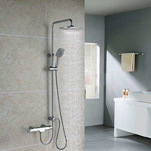Homelody 3-Funktionen-Duscharmatur Thermostat Badewanne Duschset Duschsystem Duschkopf Regendusche Handbrause Dusche Armatur Duschpaneel Regenbrause für Badezimmer