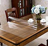 Glasklar Folie PVC Tischabdeckung Tischfolie Abwischbar Film Transparent Tischdecke Kunststoff 1,8 mm dick Schutzfolie Tischschutz Lebensmittelgeeignet Durchsichtig Tischschoner(100,90)