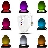 Gobesty Glow Bowl, 8 Farben Toilette Licht LED Toilette Schüssel Nachtlicht Wasserdicht UV-Sterilisator-SensorToilette Nachtlicht für Badezimmer