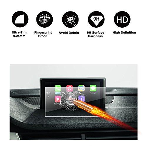 RUIYA Proteggi schermo in vetro temperato per 2012-2017 Audi A3 8V MMI Sistema di navigazione,GPS,invisibile e trasparente, Crystal Clear HD Proteggi schermo, antigraffio[8 pollici]