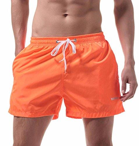 ☼ZEZKT-Herren Wassersport kurze Hose Mens Swim Trunks Dünn für Schwimmen Boxer Sport Männer Badehose Sexy Unterwäsche Schwimmhose Boardshorts Badeshorts Slimline Männer Bademode (M, Orangen) (Denim-knie-shorts)