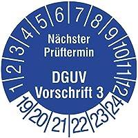 Labelident Prüfplaketten - Nächster Prüftermin DGUV Vorschrift 3, Mehrjahresprüfplakette, Zeitraum 2019-2024, Ø 15 mm, 240 Stück, Dokumentenfolie blau, Aufdruck weiß