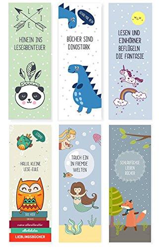 Indianer Lesezeichen (6er Set Tiere-Lesezeichen für Kinder (Einhorn, Fuchs, Eulen, Dinosaurier, Panda, Meerjungfrau / Mitgebsel))